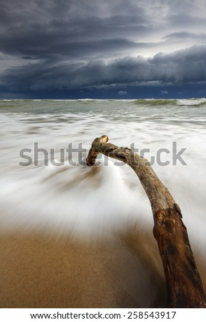 Storm on Baltic Sea in north Poland/ Stormy Sea - stock photo