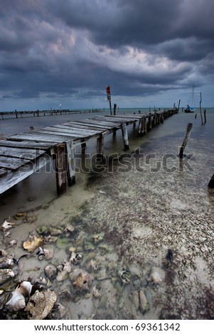 storm on caye caulker - stock photo