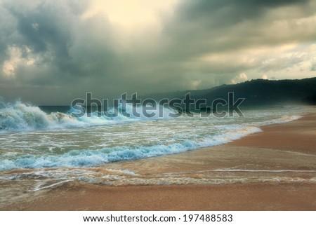 Storm on Karon Beach. Phuket Island. Thailand. - stock photo