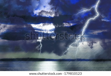 Storm on lake - stock photo