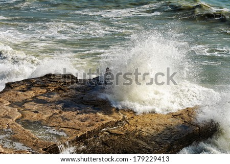 Storm on the Caspian Sea, the wave is breaking on the rocks. - stock photo