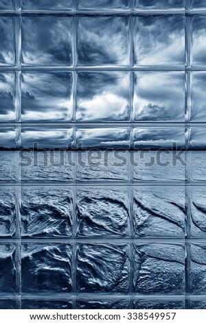 storm on the lake through window panes - stock photo