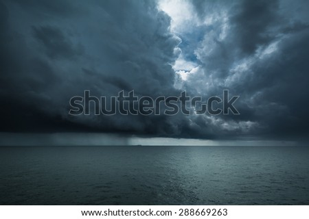 storm on the sea - stock photo