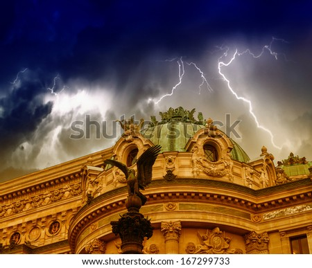 Storm over Opera building in Paris. - stock photo