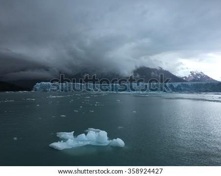 Storm over Perito Moreno Glacier in Los Glaciares National Park, Argentina - stock photo