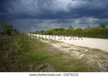 Storm over the scenic Turner River Road, Big Cypress National Preserve, Florida Everglades - stock photo