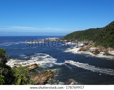 storm river mouth, tsitsikamma national park, south africa - stock photo