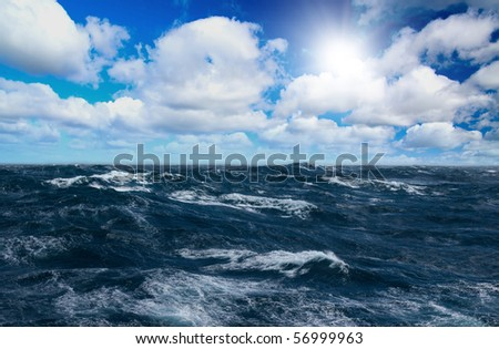 Storm sea with white horses on waves - stock photo