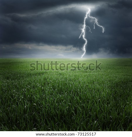 Storm, thunder on the field - stock photo