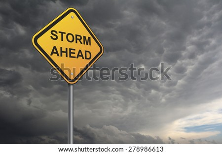 Storm warning road sign - stock photo