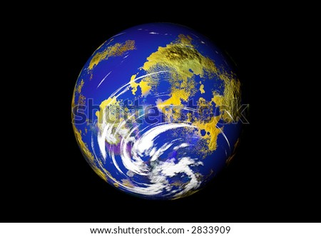Storm Watch - 3D Rendering of the Earth - stock photo