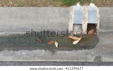 Storm water Drain from Suburban Home - stock photo