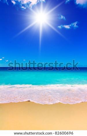 Storm Waves Beach - stock photo