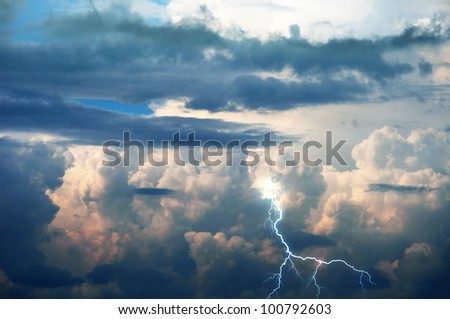 stormy clouds with lightnings - stock photo