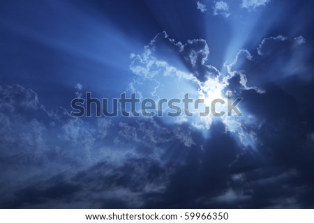 stormy cloudy sky at night - stock photo