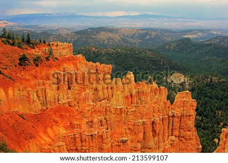 Stormy day in Bryce Canyon National Park, Utah, USA. - stock photo
