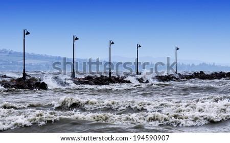 Stormy Lake Balaton, Hungary - stock photo