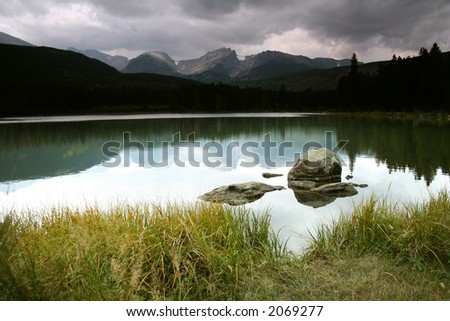 stormy mirror lake - stock photo