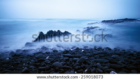 Stormy ocean view at the coast - stock photo