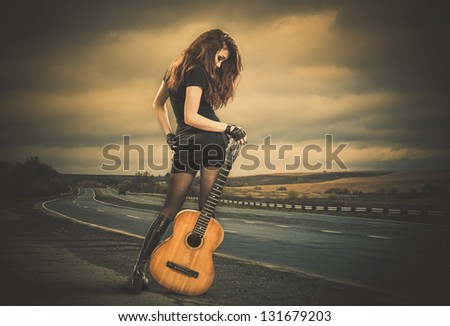 stormy road view - stock photo