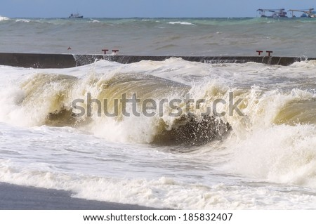 Stormy sea. High storm surges. - stock photo