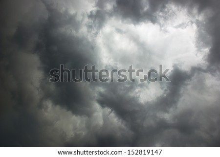stormy sky covered with dark clouds - stock photo