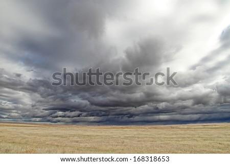 Stormy sky in Castilla y Leon - stock photo