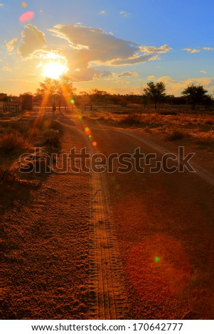 Stormy sunset in the desert, Kalahari, South Africa - stock photo
