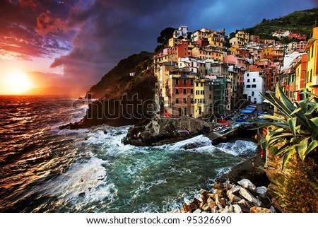 Stormy weather in Riomaggiore Village, Cinque Terre, Italy - stock photo