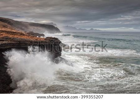 Stormy weather on Fuerteventura, Canary islands - stock photo