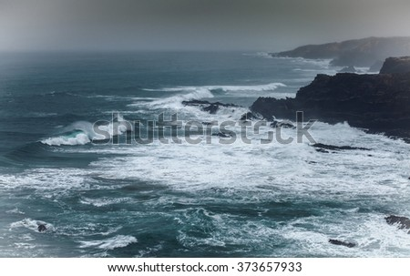 Stormy  Wether Waves on the atlantic coast Portugal - stock photo
