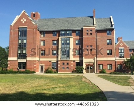 STORRS, CT - JUN 26: Dorm rooms at the University of Connecticut (UConn) in Storrs, Connecticut, as seen on Jun 26, 2016. It was founded in 1881 and serves more than 30,000 students on its 6 campuses. - stock photo
