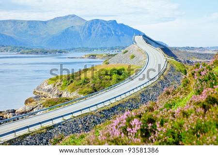 Storseisundet Bridge on the Atlantic Road in Norway - stock photo