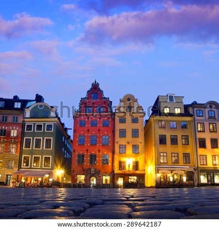 Stortorget  in Gamla stan, Stockholm - stock photo