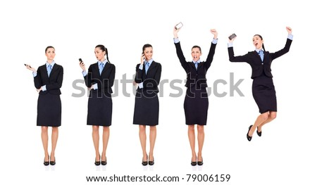 storyline,  good news businesswoman received good news over the phone,  storyline, isolated on white - stock photo