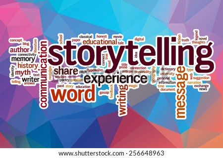 Storytelling word cloud concept with abstract background - stock photo