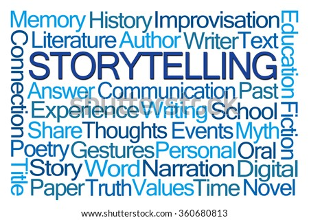 Storytelling Word Cloud on White Background - stock photo