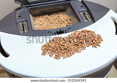 stove and pellets - stock photo