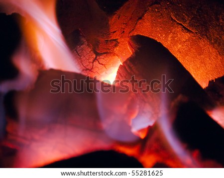 Stove fire for the dinner - stock photo
