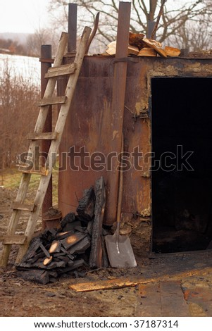 Stove for burning charcoal in Orelec, Poland - stock photo