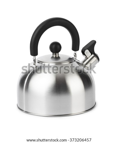 Stovetop whistling kettle isolated on white background - stock photo