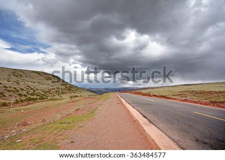 straight asphalt road - stock photo