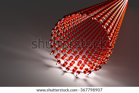 Straight Carbon Nanotube, Red Atoms and White Bonds - stock photo