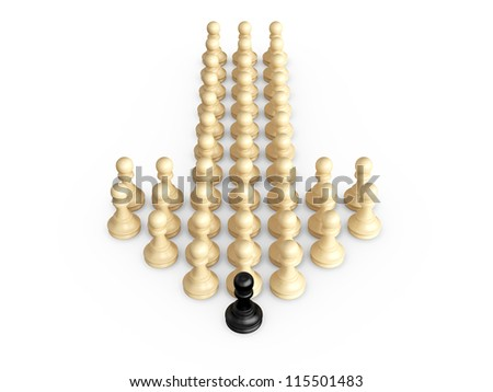 Straight direction arrow from chess pieces and black pawn as the leadership of others, isolated on white background. - stock photo