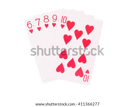 Straight Flush playing cards isolated on white background. casino concept - stock photo