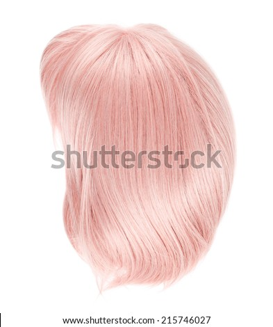 Straight hair wig isolated over the white background - stock photo