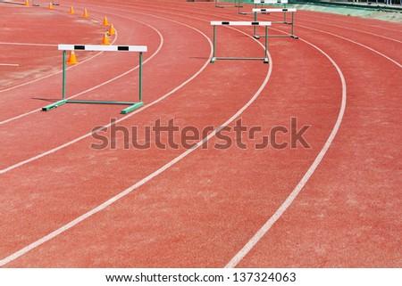 straight lanes of running track - stock photo