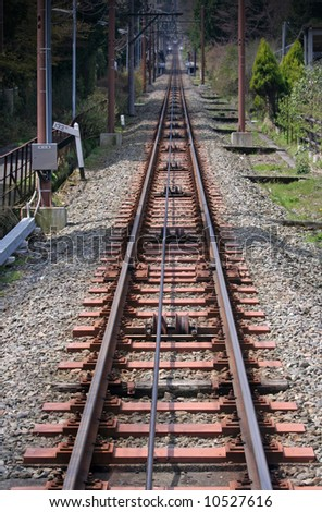 Straight railway track, Japan - stock photo