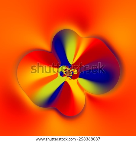 Strange Flower Shape. Abstract Colorful Fractal. Creative Fantasy Artwork. Floral Art. Artistic Computer Generated Image. Blue Yellow Red Orange Colors. Soft Decorative Vortex Graphic. Decoration. - stock photo