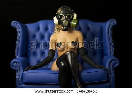 strange gas mask disco gogo dancer - stock photo